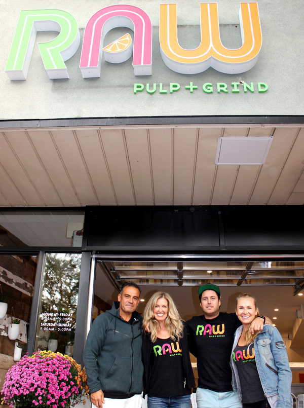 Raw Pulp + Grind co-owners Roberto Valente, Melissa Shabinksy, Jordan O'Leary, and Nicola Wharton Valente. Photo by Paula Roy