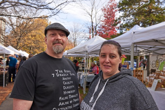 """Jeff and Stephanie King: """"The market is local, and it's fun to come to. We also get pork hearts for our dog, and bread and soup for us."""""""