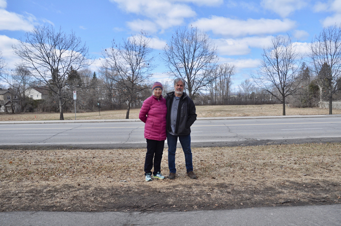 Westboro residents David Broscoe and Diana Partridge are concerned about the development of Rochester Field. Photo by Andrea Tomkins