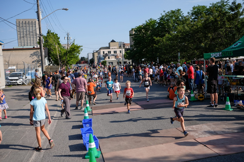 The kids cross the finish line with boundless energy
