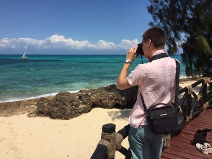 Jacob Hoytema, KT contributor and Uniterra volunteer, takes a picture on a beach in Zanzibar. Although he spent the summer working in Tanzania, he also took time to visit the main tourist attractions. Photo by Matt Curtis