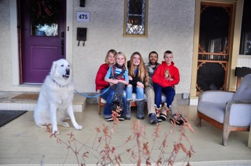 Vanessa, Rose, Maeve, Owen, and Charlie. Olive is the family dog.