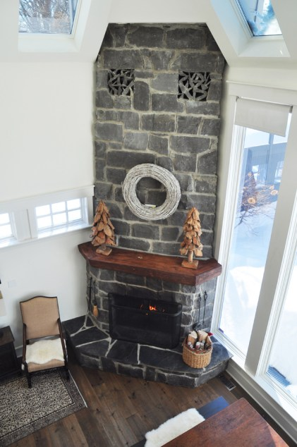 View of the fireplace. Photo by Andrea Tomkins