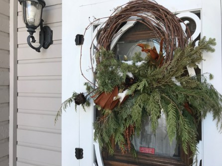 It was a wintery day when we visited this home on Highcroft! This Christmas wreath is still fitting in the depths of winter. Photo by Andrea Tomkins