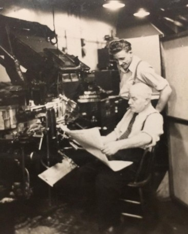Harry and Arthur Showler, linotype operators.