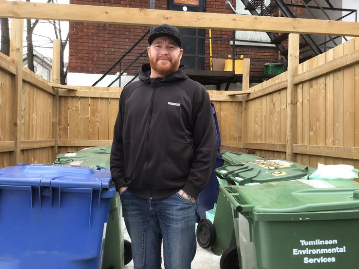 """""""We definitely stream at the source and that makes it really easy at the end of the day to stream what's recyclable, what's garbage, and what's compostable,"""" says Jess Fletcher, executive chef for Bridgehead Coffee."""