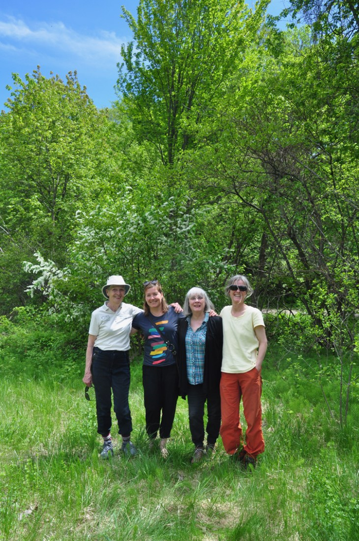 (L-R): Eileen Hunt, Hampton-Iona Community Group; Christine Earnshaw, Tree Fest Ottawa; Linda Landry, Friends of Carlington Hill; Sharon Boddy, resident. (Not pictured, Laura Stone of Tree Fest). Photo by Andrea Tomkins