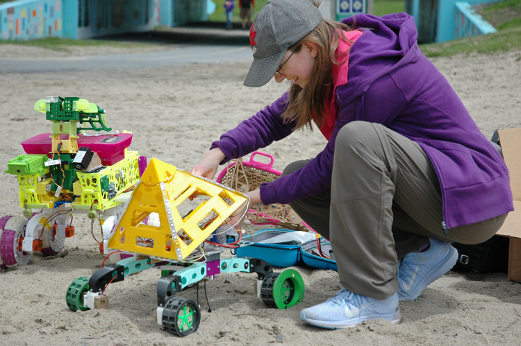 Erin Kennedy logs data for one of her prototype bots.