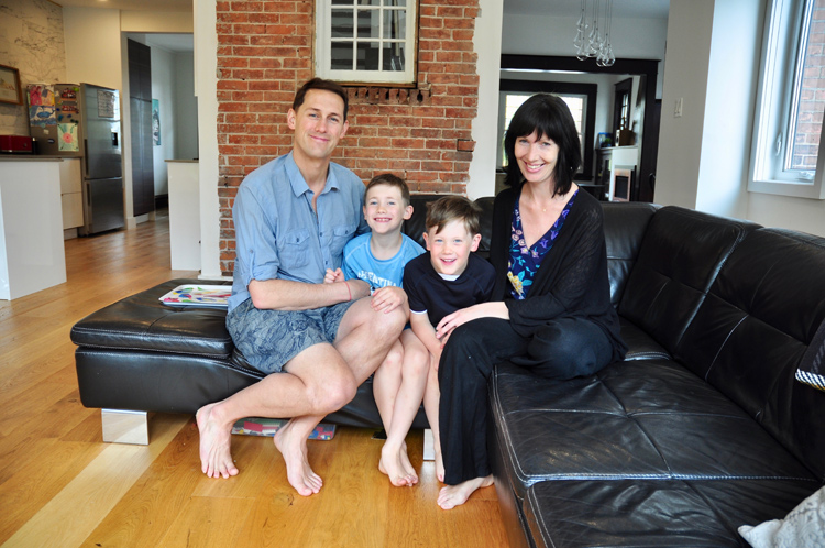 Eric Lussier and Alison Zinni with their sons Oscar and Jack. 