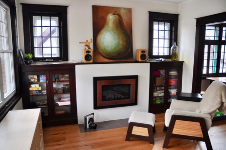 View of the living room from the front entrance. Photo by Andrea Tomkins