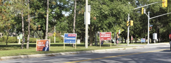 Election signs abound at the intersection of Island Park Drive and Byron