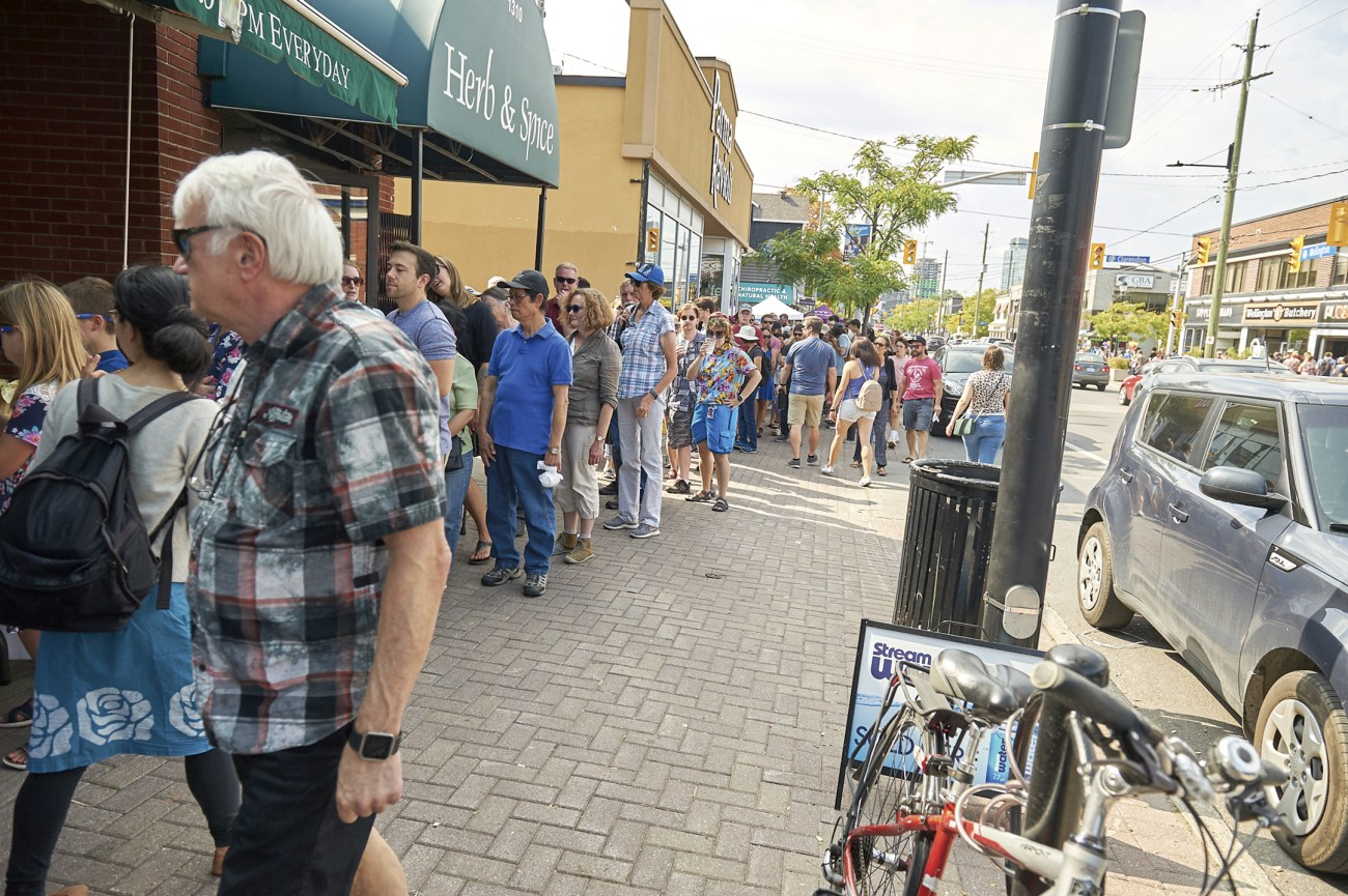 Crowds lined up to try some food from participating restaurants and stores during Taste of Wellington.