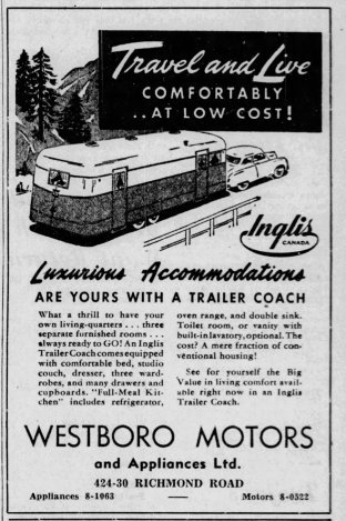"Ad from Westboro Motors for an RV ""Trailer Coach"" as it appeared in the Saturday, October 11, 1947 edition of the Ottawa Citizen."