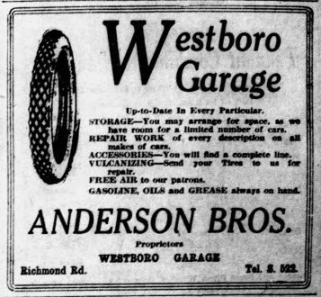 Ad for Westboro Garage in the Saturday, September 6, 1919 edition of the Ottawa Citizen.