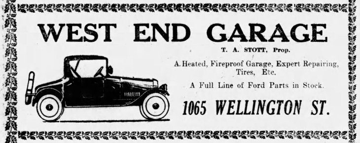 Ad for West End Garage as it appeared in the Wednesday, December 10, 1919, edition of the Ottawa Citizen.
