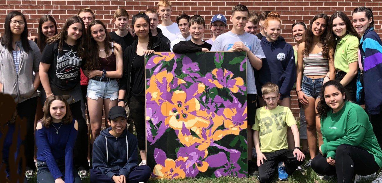 The students of Nepean High School donated this painting, Balanced Bouquet, to the Cornerstone Housing for Women.
