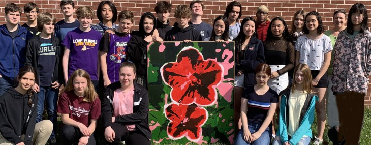 The students of Nepean High School donated this painting, Complementary Flowers, to the Cornerstone Housing for Women.