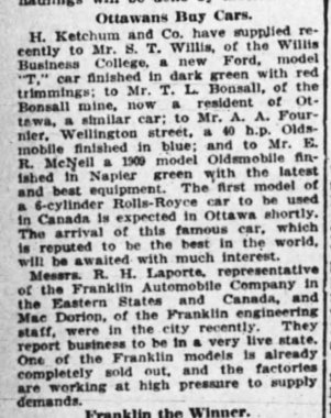 Article from the Ottawa Journal, Saturday, May 15, 1909