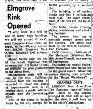 A newspaper clipping from 1959 announces the opening of the Elmgrove Rink.