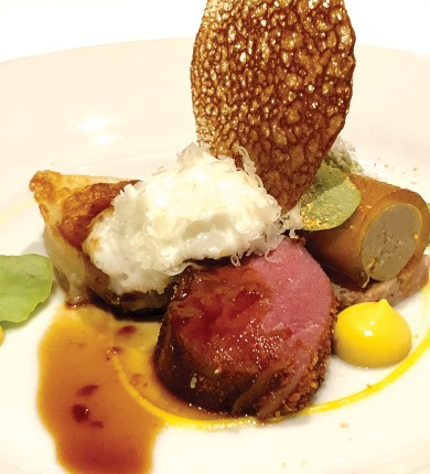 "Ian Carswell's gold medal winning dish, which included Milkhouse Farm & Dairy lamb with ""Neeps and Tatties"". It was composed of buckwheat crusted lamb loin, roasted turnip, braised lamb pierogi and a playfully-named ""Scott-ish"" paté."
