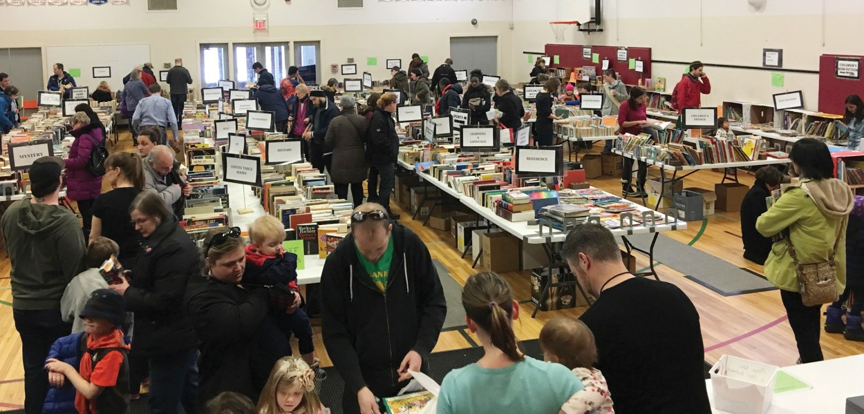 Book lovers gather at the Elmdale Bookfest last year. J
