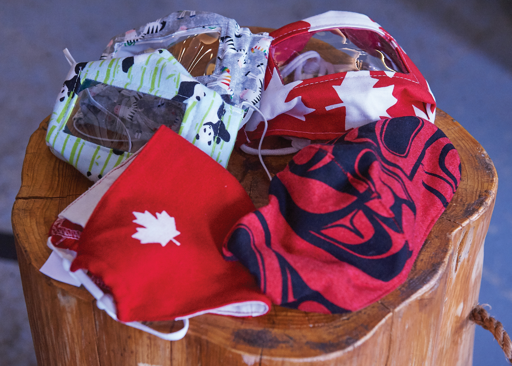 A photo of some Canadian-made masks at Maker House in Hintonburg.