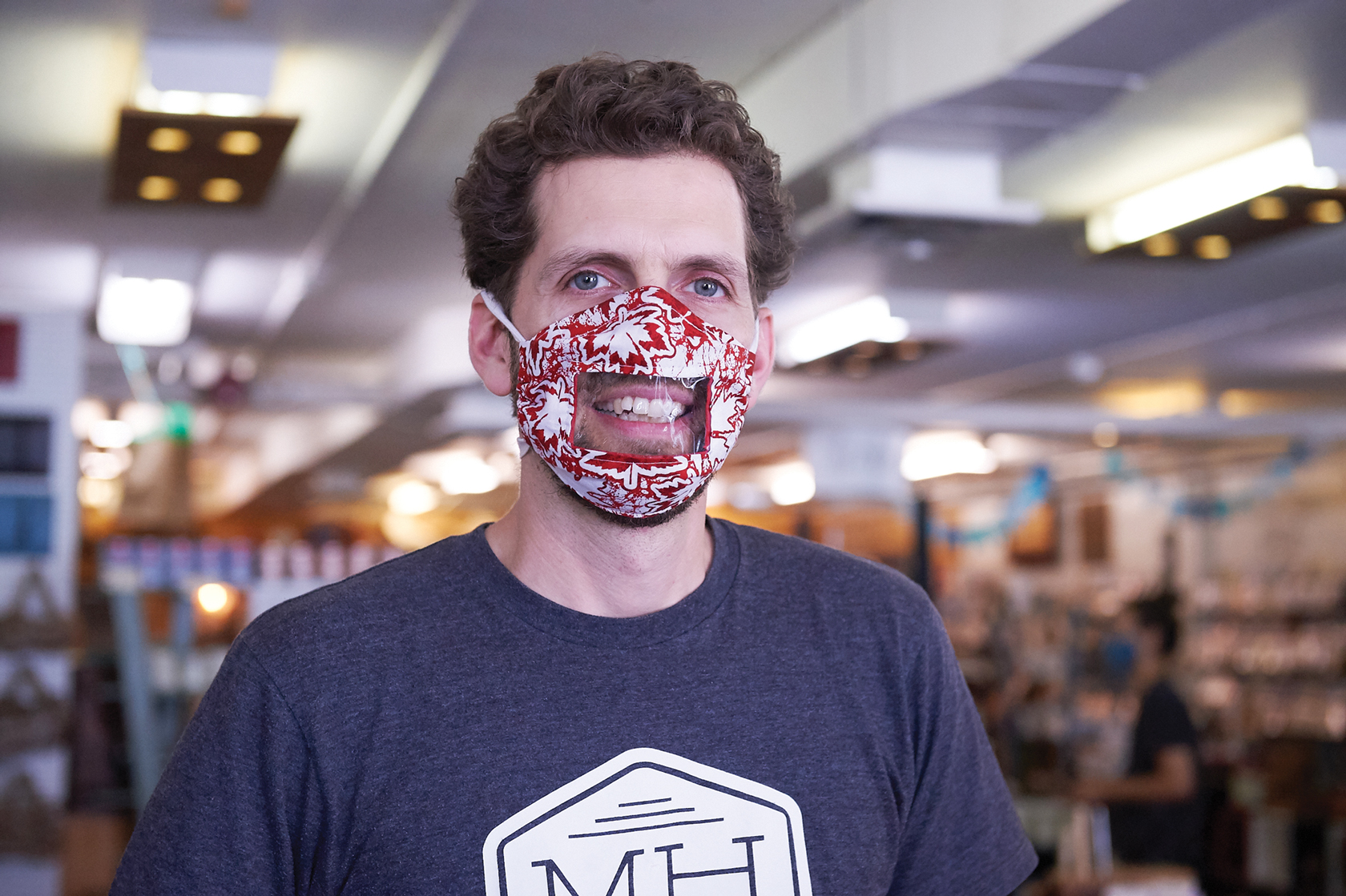 A photo of owner Gareth Davies wearing a mask at Maker House.