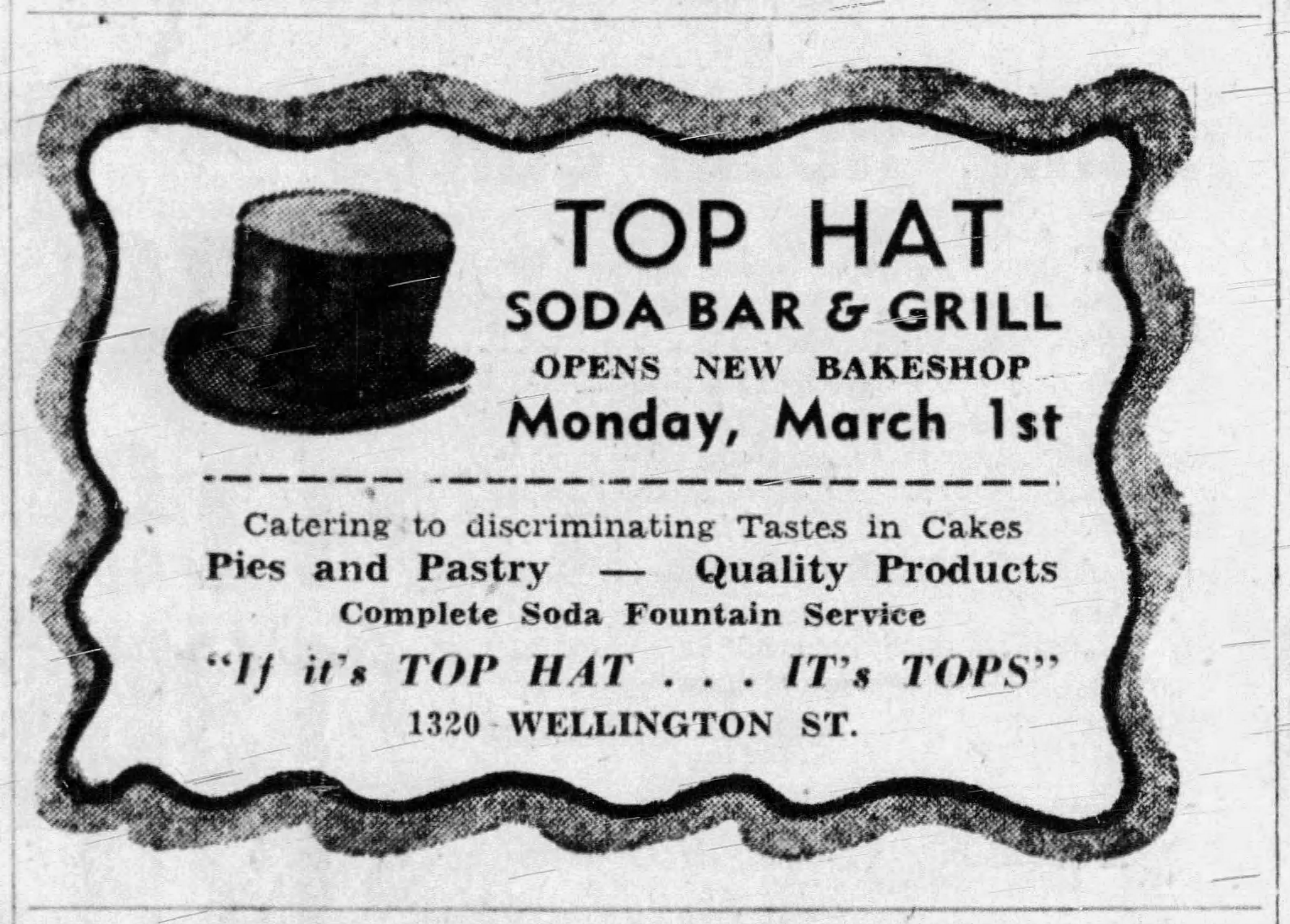 An ad advertising Top Hat in the Ottawa Citizen.