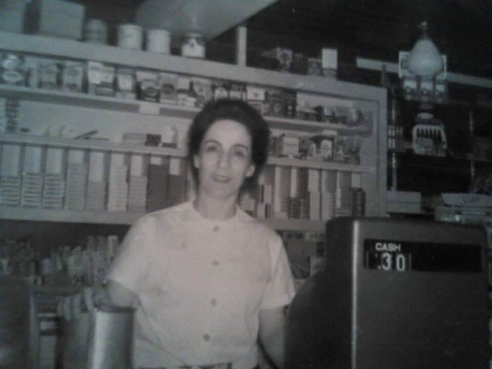 A photo of Jane Saikaley at the counter of Jimmy's Restaurant in the 1970s.