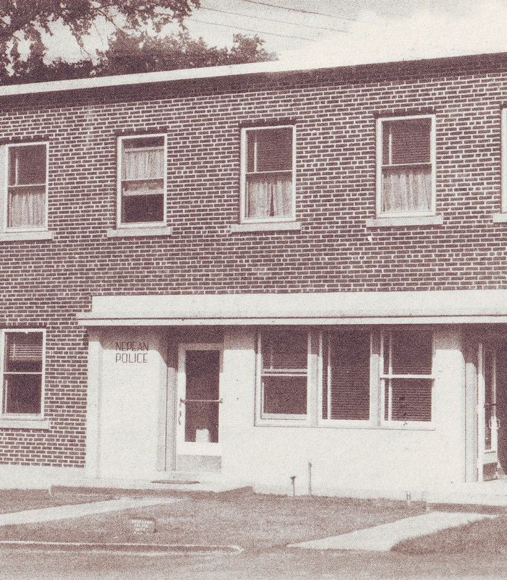 A photo of the Nepean Police station on a sepia postcard from 1947.