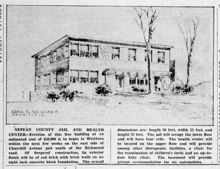 A photo of an Ottawa Citizen article from 1945 advertising the station and health centre.
