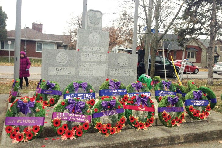 Wreaths laid in front of the Westboro Cenotaph on Nov. 11, 2019.