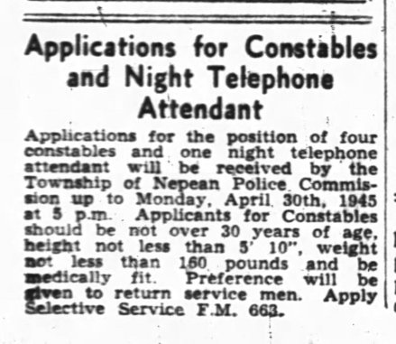 An ad for constables and a night telephone attendant in the Ottawa Journal on April 19, 1945. Photo courtesy of the Ottawa Journal.