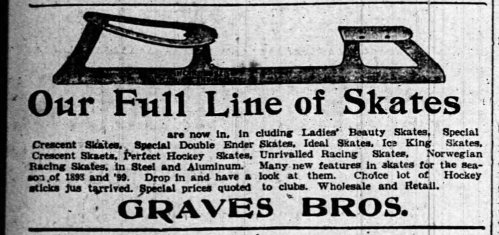 A black and white newspaper Graves Bros ad for skates in 1898