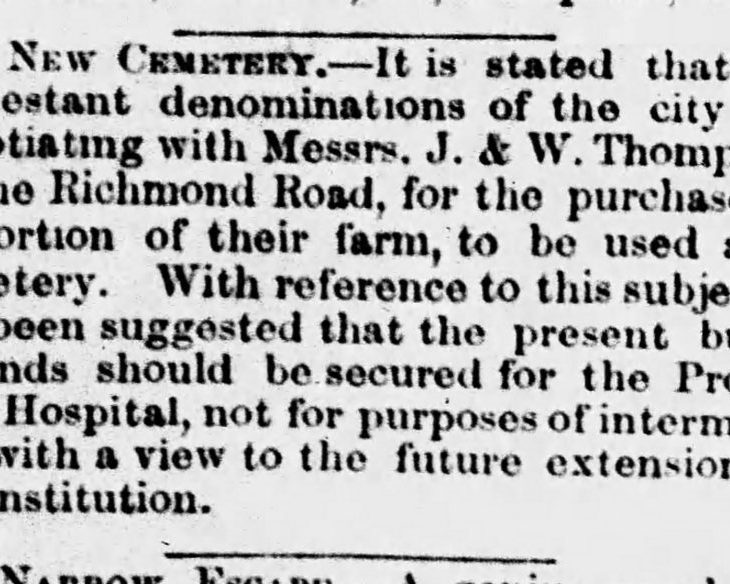 A black and white newspaper clipping discussing the debate about the placement of the Ottawa cemetery in the April 22 edition of the Ottawa Daily Citizen