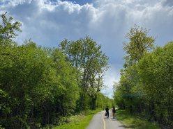 Locals enjoy one of the many pathways in the neighbourhood. Photo by Ellen Bond.