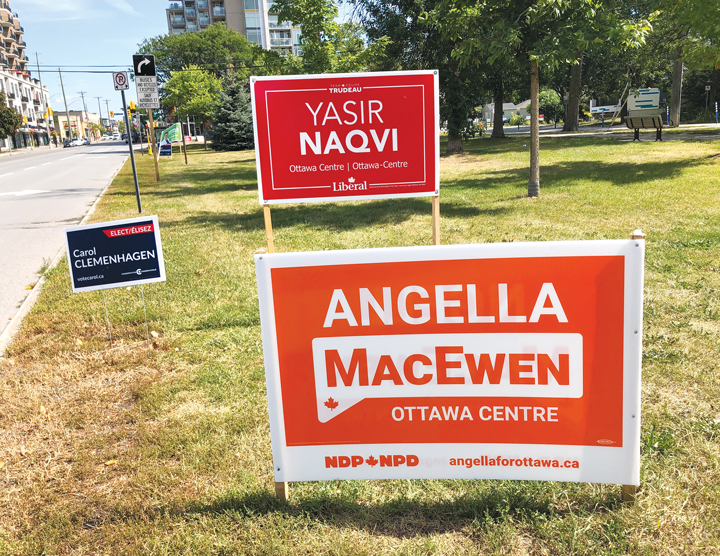 Four election signs are seen on a lawn in a park in Westboro on a sunny day