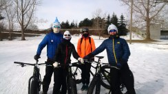 "Leah and Trevor write: ""Well, we have skied and snowshoe run the SJAM Winter Trail and LOVED IT! But....the highlight was a 40th Birthday Fat Bike Party! Six of us had a ball renting all our bikes from Fresh Air and biking down to the War Museum Cafe, did we mention it was minus 27?? Saw your tweet about submitting our best SJAM adventure... we have many different adventure pics on the trail, but the Fat Bike Party was truly the most unique out on that trail. The event included the SJAM, bikes from FreshAir, a stop at the War Museum and treats from The Cupcake Lounge. Gems in our neighbourhood!"""