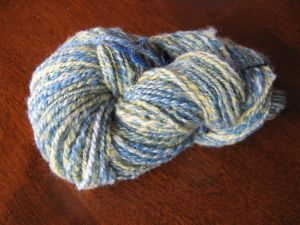 Spindle-spun Corriedale dyed with Indigo and Golden Marguerite.