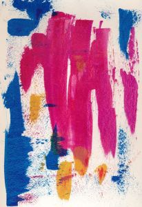 Acrylic paint scraped onto paper with a used credit card