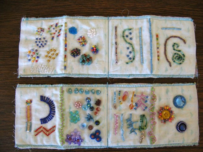 My bead sampler pages, ready to be made into a book.