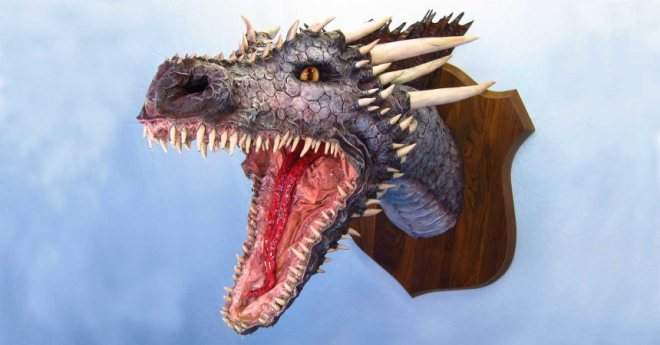 """One of many amazing dragon heads by Dan """"The Monster Man"""""""