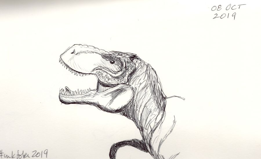 Ink drawing of T. rex model by Kit Dunsmore