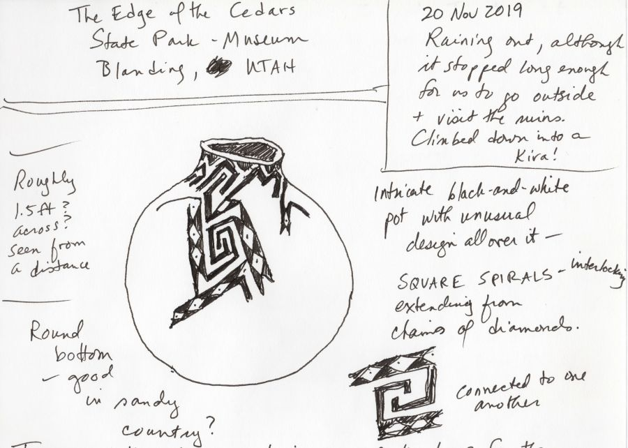 Black and white sketch of ancient puebloan pottery and notes. Drawing by Kit Dunsmore