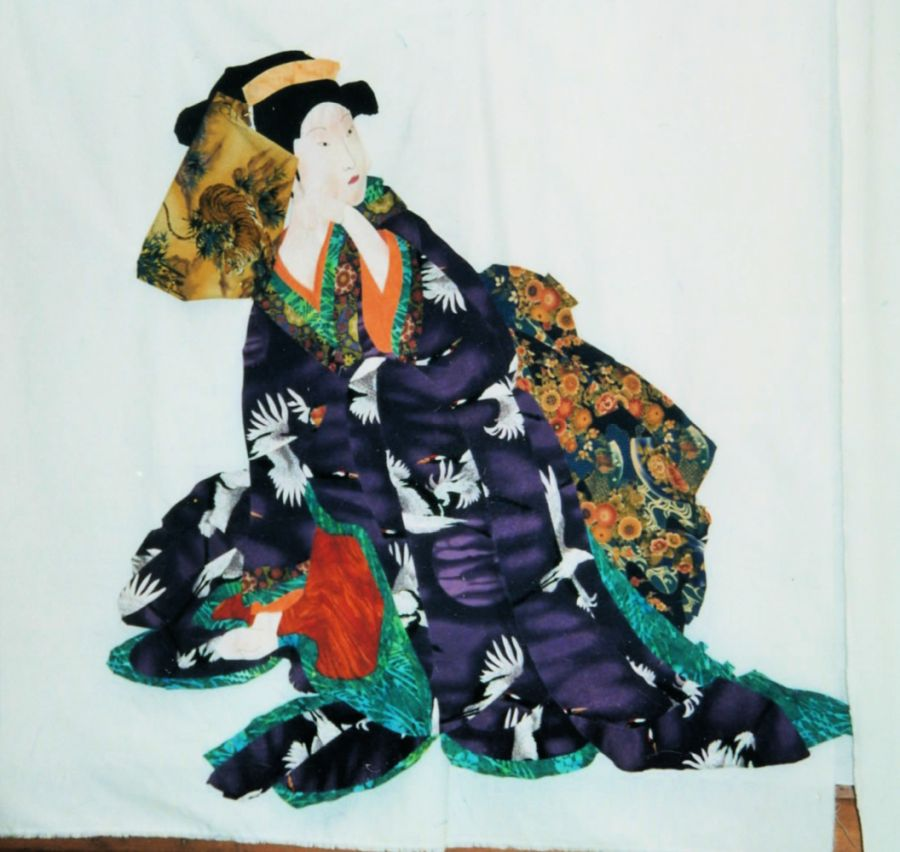 Image of a Japanese dancer in a kimono made of fabric by Kit Dunsmore