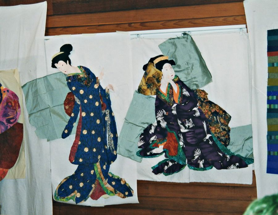 Images of Japanese dancers in kimonos made of fabric by Kit Dunsmore