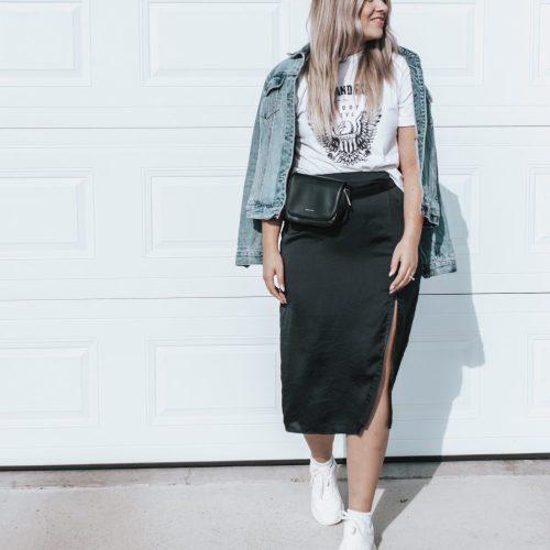 Style Session: Satin Black Midi Skirt