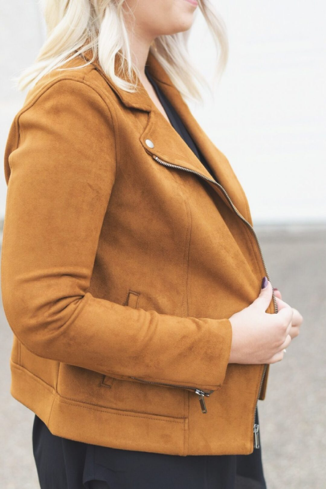 Brown suede moto jacket outfit