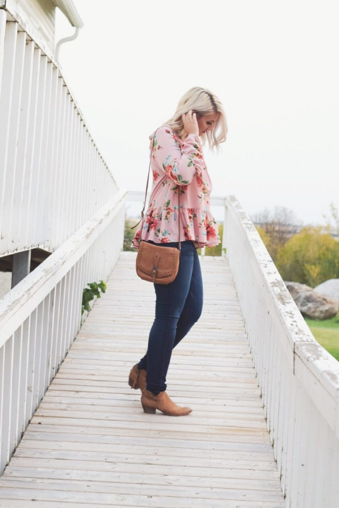 Floral peplum top with bell sleeve
