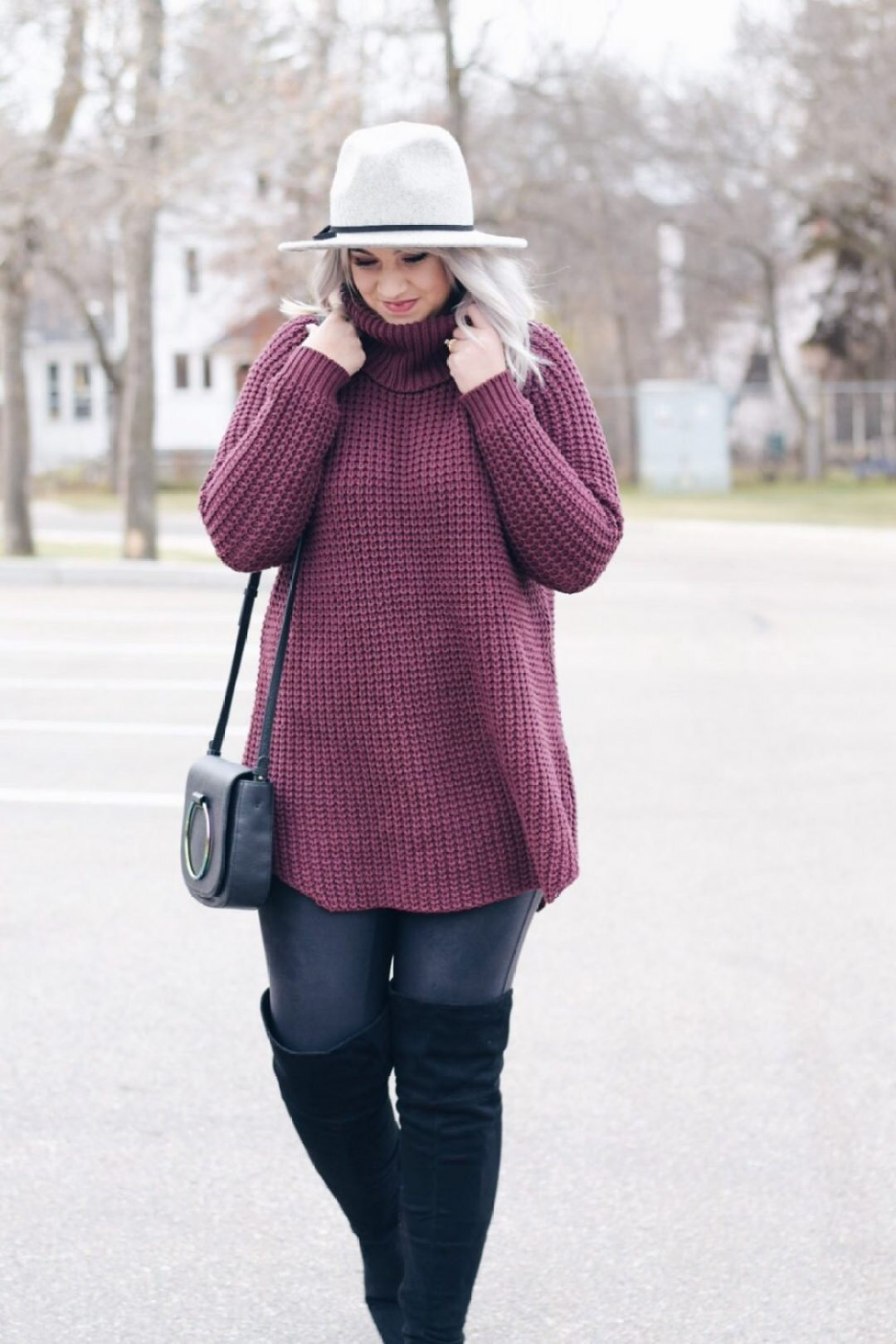 Turtleneck sweater dress with OTK boots